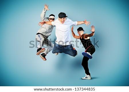 Group of modern dancers dancing hip-hop at studio. #137344835