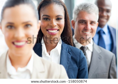 group of modern multiracial business people in a row