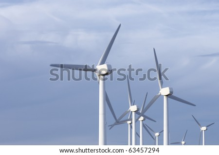 group of modern windmills in monochromatic blue tone
