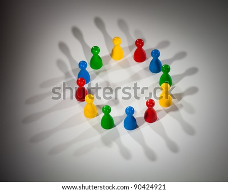 group of multi-colored people to represent social network, diversity, multi-cultural society, team work togetherness