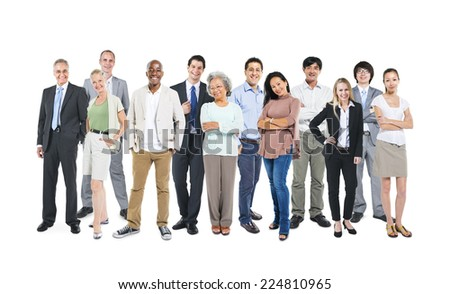Group of multi-ethnic and diverse occupational people in a white background. #224810965