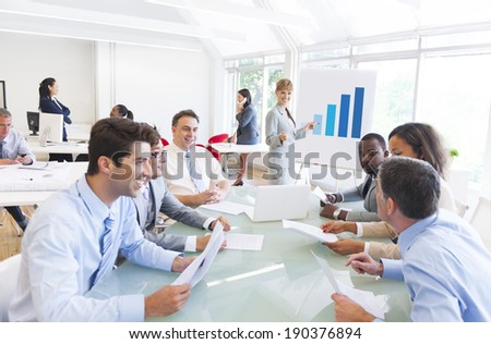 Group of Multi Ethnic Corporate People having a Business Meeting - Shutterstock ID 190376894