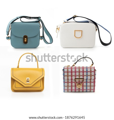 group of multicolored leather purses isolated on white background ストックフォト ©