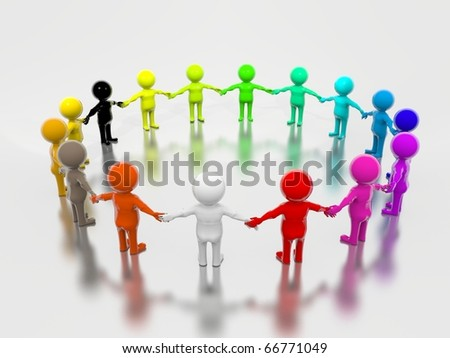 Group of Multicolored Peoples holding each others hands