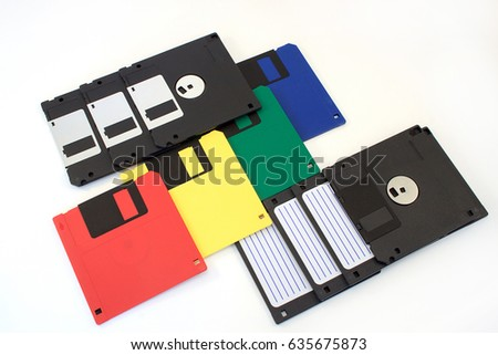 Old Colored Floppy Disk 1 44mb Stock Photo 711070066