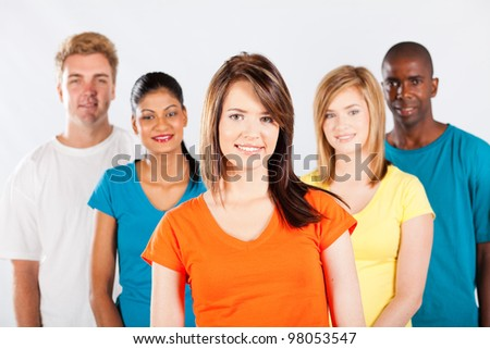group of multicultural college students on white background - stock photo