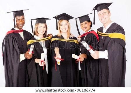 group of multicultural university graduates portrait
