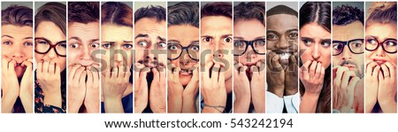 Group of multiethnic anxious people men and women biting fingernails feeling nervous stressed  Stock foto ©