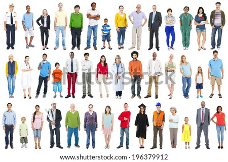 Group of Multiethnic Diverse Mixed Occupation People - Shutterstock ID 196379912