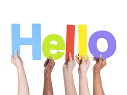 Group of Multiethnic Hands Holding Hello