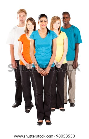 group of multiracial people isolated on white background