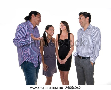 Group of multiracial young adults chatting friendly. - stock photo