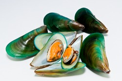 group of mussels boiled with garlic and parsley isolated on white background.