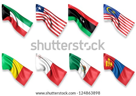 Group of 8 National Waving Flags
