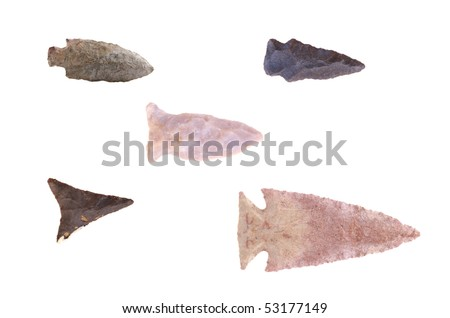 Group of Native American arrowheads found in Eastern Kentucky isolated on a white background.
