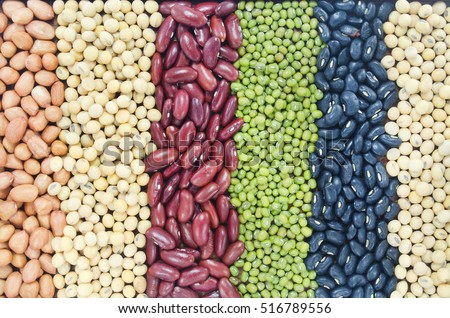Group of natural grains, consisted of soybean seeds, black bean seeds, green bean seeds, red beans seeds, and peanut seeds #516789556