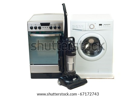 Group of new household appliances isolated on white background