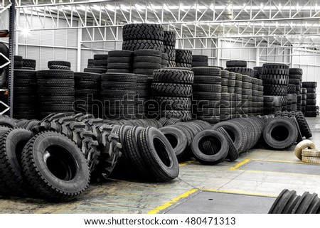 Group of new tires for sale at a tire store
