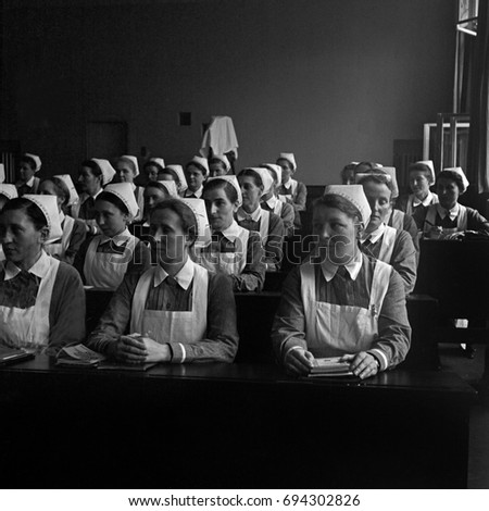 Group of nurses attending lecture