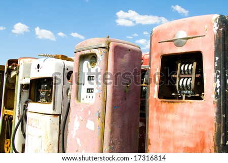 Group of Obsolete, Vintage Gas Pumps