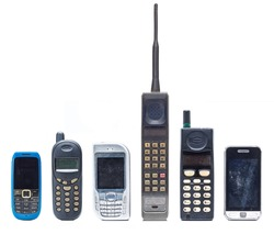 Group of old and obsolete mobile phone or cell phone on white background