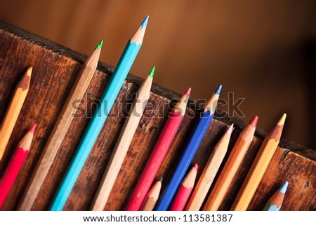 Group of old colorful crayons