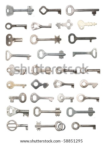 group of old keys isolated on white
