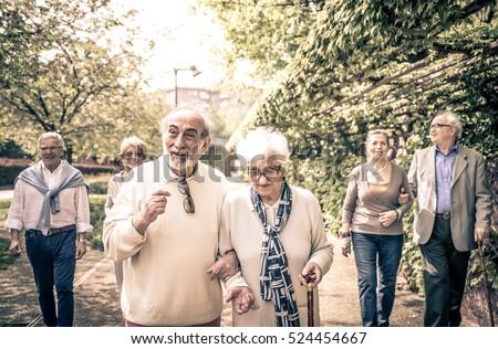 Group of old people walking outdoor #524454667