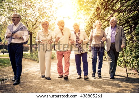 Group of old people walking outdoor. Old friends walking in a park during a sunny day #438805261
