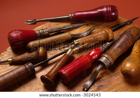 Group of old shoemakers tools