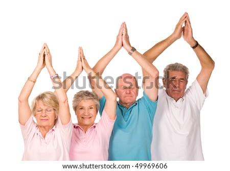 Group of older mature people doing yoga exercises, isolated on white background