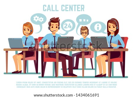 Group of operators with headset supporting people in call center office. Business support and telemarketing concept. Illustration of online consultant communication, feedback, helping hotline