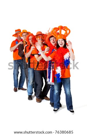Group of orange Dutch soccer fans over white background - stock photo