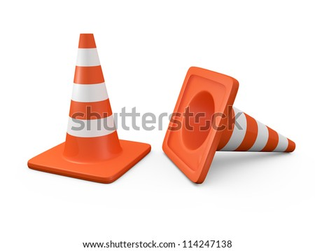 Group of orange highway traffic cones with white stripes, one is falled down, isolated on white background.