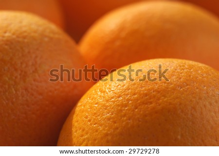 Group of oranges close-up. Selective focus.