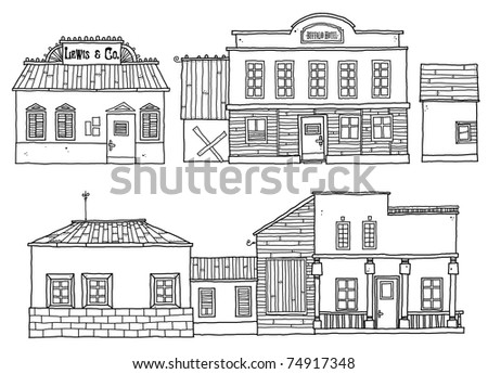 Group of outline cartoon buildings-Hotel and store in Western style.