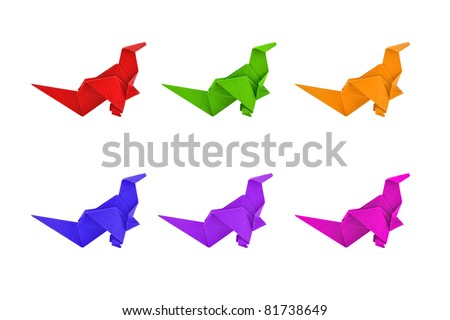 group of paper dinosaur isolated on white background