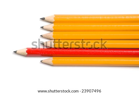 Group of pencils with one highlighted as business concept for leadership, winning and standing out from the crowd.