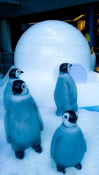 group of penguine sculptures in front of an igloo at Orchard Road, Singapore on 11th November 2019 at 4:44 pm