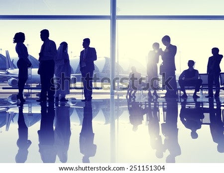Group of People Airport Business Travel Communication Concept stock photo