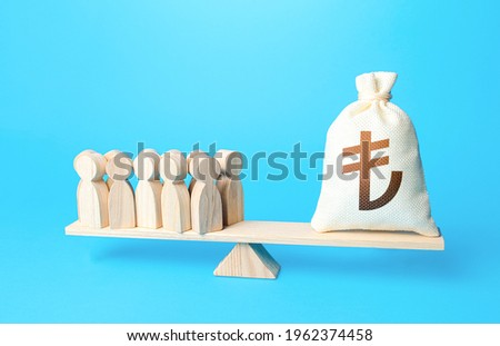 Group of people and turkish lira money bag on weight scales. Staff maintenance. Financial support. Profit from productivity. Investors investments, shareholders. Payment of staff salaries.