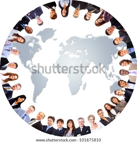 Group of people around a world map