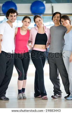 group of people at the gym portrait