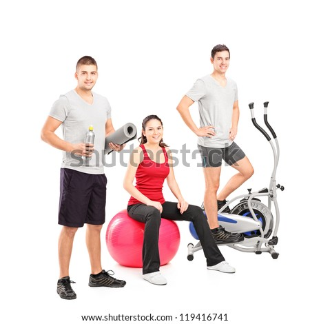 Group of people at the gym posing isolated on white background
