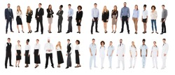 Group Of People Belonging From Various Occupations Over White Background