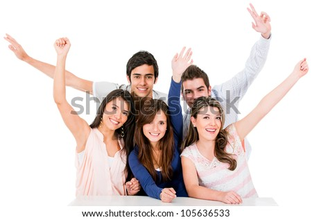 Group of people celebrating with arms up - isolated over a white backgorund