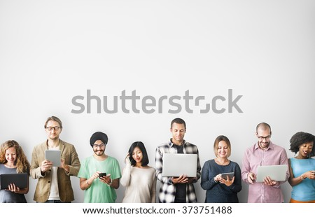 Group of People Connection Digital Device Concept