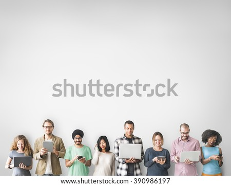 Group of People Connection Digital Device Concept - Shutterstock ID 390986197