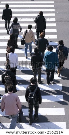 Group of people crossing the street-upper view during the midday.
