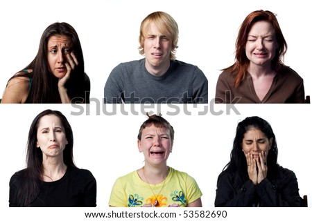 Group of people crying at the camera